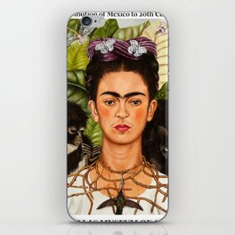 "Frida Kahlo Exhibition Art Poster - ""Self-Portrait with Thorn Necklace and Hummingbird"" 1988 iPhone Skin"