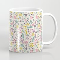 candy Mugs featuring Retro Blooms (Candy) by Anna Deegan