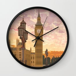 London, England - Vintage Style Travel Poster Wall Clock