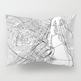 Montreal White Map Pillow Sham