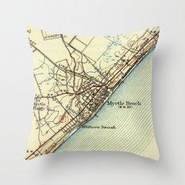 Vintage Map of Myrtle Beach South Carolina (1940) Throw Pillow