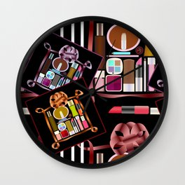 Set of cosmetics and perfumes . Wall Clock