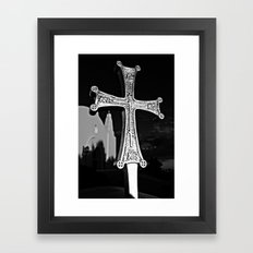 Cross Outside of St. Barbara Greek Orthodox Church, Santa Barbara, CA Framed Art Print
