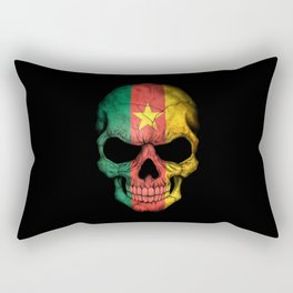 Dark Skull with Flag of Cameroon Rectangular Pillow