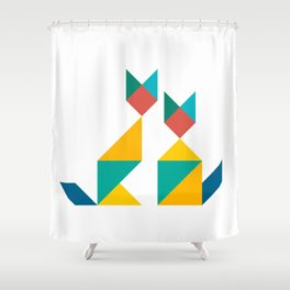 Tangram Cats 1 Shower Curtain