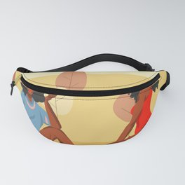 Hand drawn illustration with young happy beauty females group, Colorful seasonal poster collection Fanny Pack