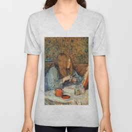 "Henri de Toulouse-Lautrec ""Madame Poupoule at Her Dressing Table"" Unisex V-Neck"