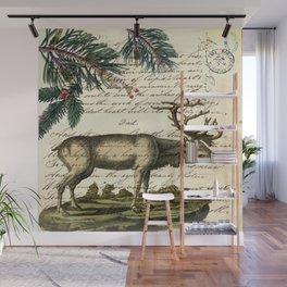 western country primitive christmas mountain animal wildlife winter pine tree elk Wall Mural