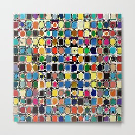 Colorful Rectangles With Texture Metal Print