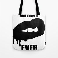 whatever Tote Bags featuring WHATEVER by Delirium