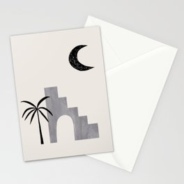 Grey Minimalist Modern Mid Century Ancient Ruins Architecture Moon Lit Palm Trees by Ejaaz Haniff Stationery Cards