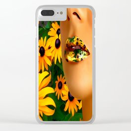 Lips in sunflowers Clear iPhone Case
