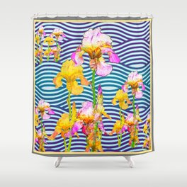 Colorful Iris Water Garden Art Pattern Shower Curtain