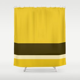 Solid Three-Tone Gold w/ Divider Lines - Art Abstract Illustraton Art Print Shower Curtain