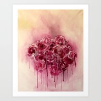 Dripping Roses Art Print