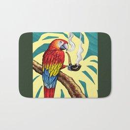 Smokin parrot .... where is my pipe ??? Bath Mat