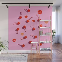 Red juicy cherries and lips imprints Wall Mural