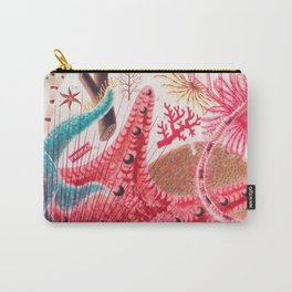Colorful Starfish Urchin Vintage Sealife Illustration Carry-All Pouch