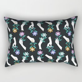 Grasping Flowers Rectangular Pillow