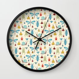 Little Bugs & Mini Beasts on Cream Wall Clock