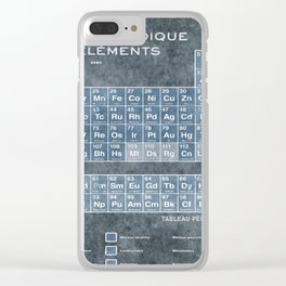 Tableau Periodiques Periodic Table Of The Elements Vintage Chart Blue Clear iPhone Case
