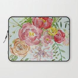 Bouquet of Spring Flowers Light Aqua Laptop Sleeve