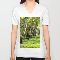 birch V-neck T-shirts featuring birch alley by Kay Weber