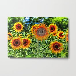 Sunflowers Stained Glass Art Metal Print
