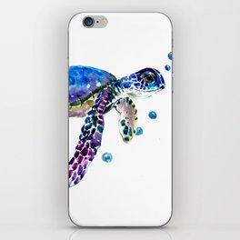 Sea Turtle, blue purple illustration children room cute turtle artwork iPhone Skin