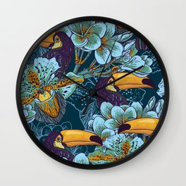 Tropical seamless parrern with flowers and Toucan Wall Clock