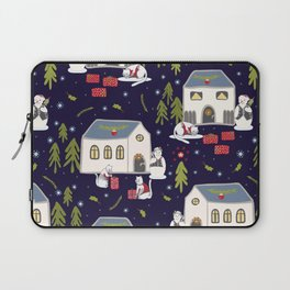 Christmas Cats Village Festive Seamless Vector Pattern, Drawn Present Boxes Laptop Sleeve