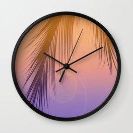 Palm Leaf Silhouette Orange Violet Background #decor #society6 #buyart Wall Clock