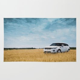 Abandoned Car Art Evoque in field Rug