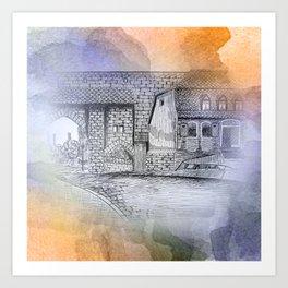 ink drawing on textured background -2- Kunstdrucke