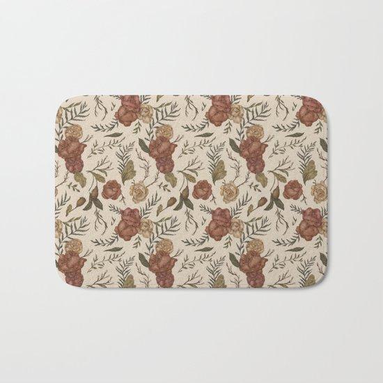 Antique Floral Pattern Bath Mat