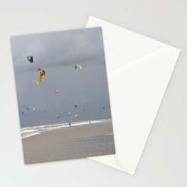 Colorful kites against dark clouds at the beach -- Kitesurfers in the Netherlands -- Art Print Stationery Cards