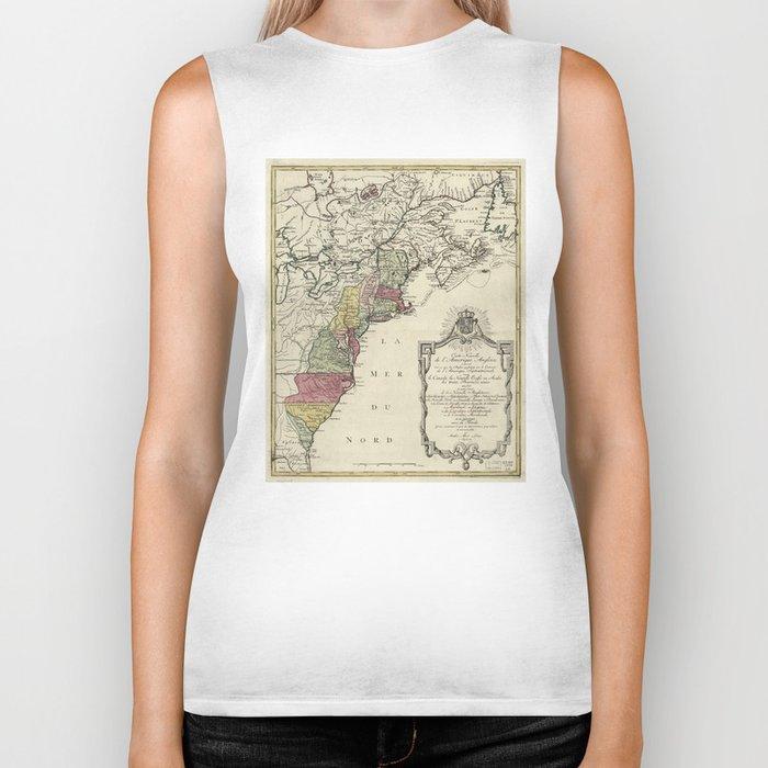 Colonial America Map by Matthaus Lotter (1776) Biker Tank