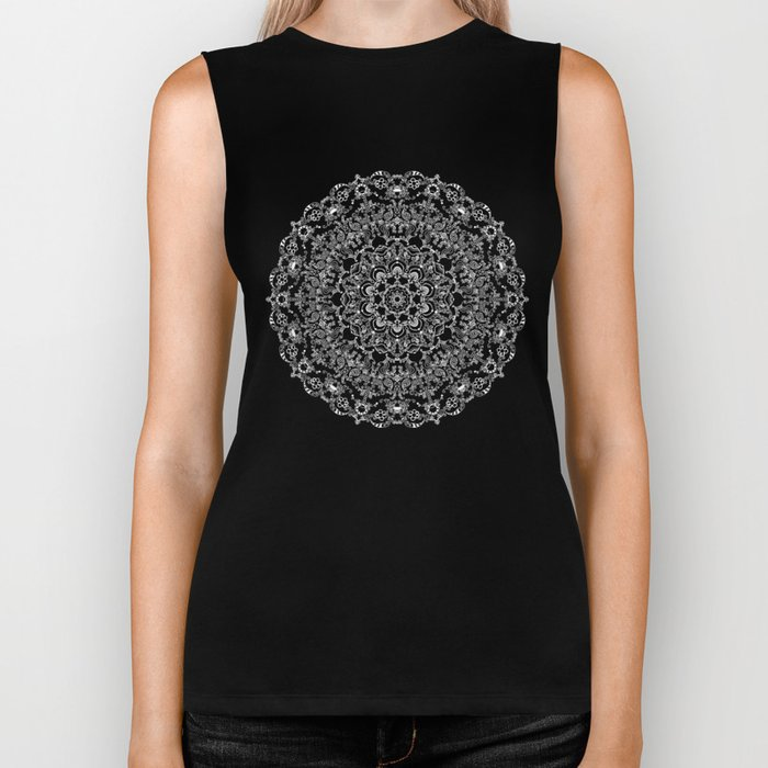 Mandala Project 212 | White Bohemian Lace on Black Biker Tank