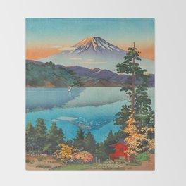 Tsuchiya Koitsu Vintage Japanese Woodblock Print Fall Autumn Mount Fuji Throw Blanket