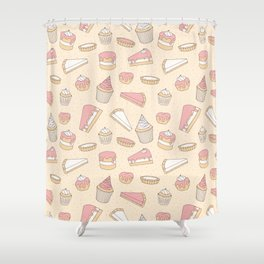 Pink Pastry Pattern Shower Curtain