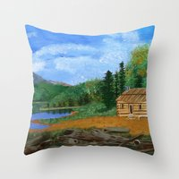 cabin Throw Pillows featuring Old cabin by maggs326