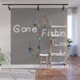 Gone Fishin Fishing Lures and Hooks on Gray Background Wall Mural