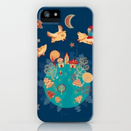 Flying pigs in the night, gnomes, fabulous houses, magical forest, mysterious planet. iPhone Case