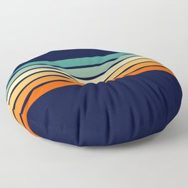 Marynda - Classic Colorful 70s Vintage Style Retro Summer Stripes Floor Pillow