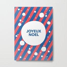 Joyeux Noel Candy Cane Snow Stripe Metal Print