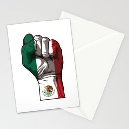 Raised Fist for Mexico   Mexican Flag Stationery Cards