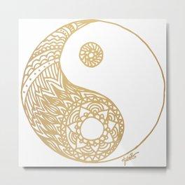 Golden Yin Yang Metal Print