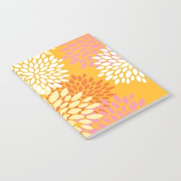 Bright Summer Floral Pattern, Colorful, Yellow, Orange, Pink Notebook