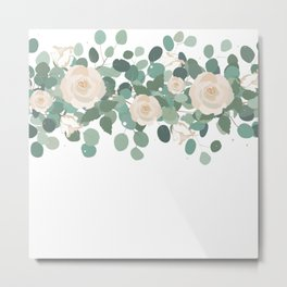 Eucalyptus and Roses Garland Metal Print