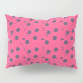 Modern neon pink purple paint splatters polka dots Pillow Sham
